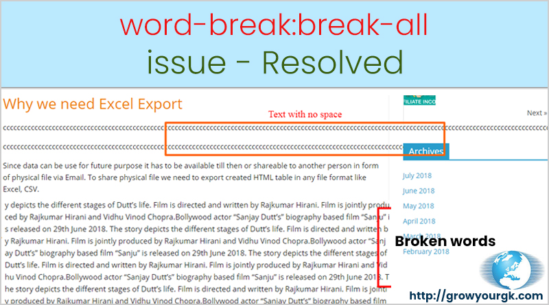 break all issue resolve